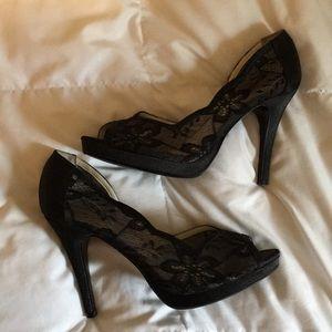 Elegant black lace heels